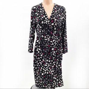 Anne Klein Geometric Print Wrap Dress